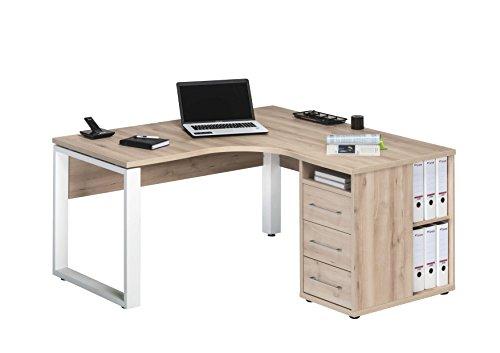 Eckschreibtisch Schreibtisch Bürotisch Büromöbel mit Unterschrank 1458 Edelbuche -