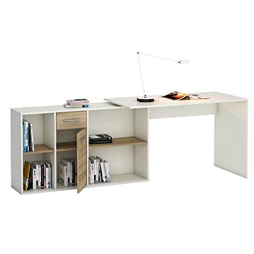 Winkelschreibtisch sonoma eiche - Eckschreibtisch Schreibtisch Winkelschreibtisch DIEGO mit Regal in Sonoma Eiche/weiß Kinderschreibtisch -