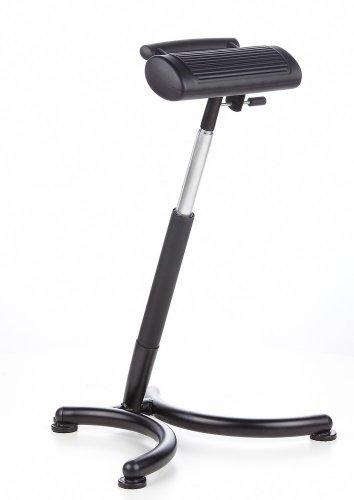 hjh OFFICE 665140 Stehhilfe TOP WORK 13 Hartschaum schwarz chrom, leicht zu reinigen, pflegeleichter Sitz, wertig verarbeitet, ohne Armlehnen, Stehhilfe, Bürostuhl, Arbeitsstuhl hoch -