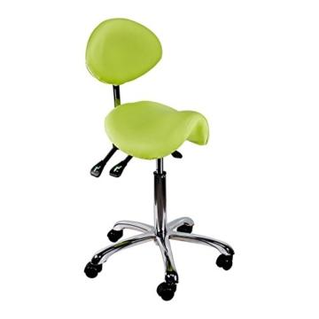 Physa - Sattelstuhl Sattelhocker Comfort hellgrün - Höhenverstellbar - Rückenlehne verstellbar - 5 Räder - Gesundheitsschonend -