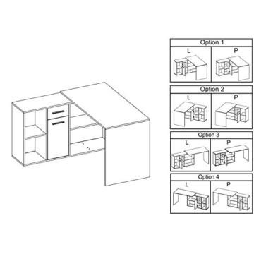 Schreibtisch Eckschreibtisch DIEGO mit Regal in Sonoma Eiche, rechts & links aufbaubar -