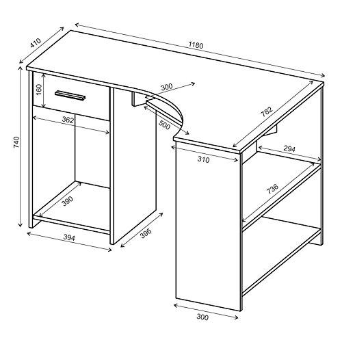 PC Eckschreibtisch in weiß - Schreibtisch Eckschreibtisch PC Tisch SILVIA in weiß mit Tastaturauszug und Schublade, 117x74x78 cm -