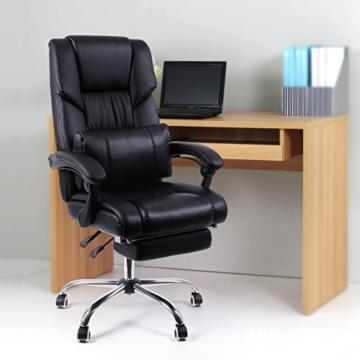 Songmics OBG71B Bürostuhl mit Fußablage und Lendenkissen, Lederimitat, schwarz, 67 x 66 x 116 cm -