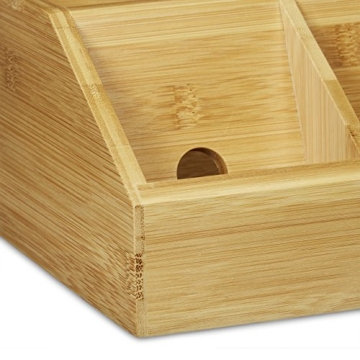 Relaxdays Schreibtisch-Organizer aus Bambus H x B x T: ca. 11 x 30 x 17,5 cm inklusive Handyhalter auch als Ladestation Aufbewahrungsbox für den Schreibtisch Organizer im Büro mit 5 Fächern, natur -