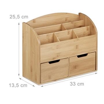 Relaxdays Schreibtisch-Organizer Bambus, Briefablage, 6 Fächer, 2 Schubladen, natürliche Maserung, H x B x T: 25,5 x 33 x 13,5 cm, natur -