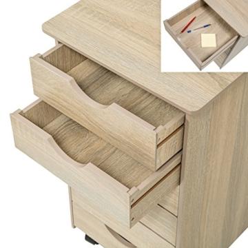 TecTake Rollcontainer Eiche mit 6 Schubladen -