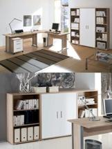 Arbeitszimmer mit Winkelschreibtisch komplett Set Office Line mit Highboard in Eiche Sonoma / Weiß glanz -