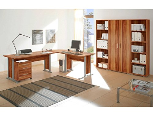 Schlichtes 7-teiliges Bürozimmer Office Line in weiß, praktischer Eckschreibtisch, Büro komplett Set, Büromöbel Set günstig, Arbeitszimmer Möbel komplett, praktisches Arbeitszimmer günstig im Internet, Winkelschreibtisch und Regalwand billig bestellen