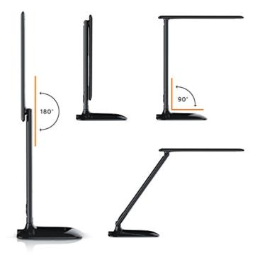 Brandson - dimmbare LED Schreibtischlampe   Augenschutz - 3 Lichtfarben (kalt/warm/neutralweiß) / 5 Helligkeitsstufen   Temperatur-, Alarm- und Kalenderfunktion   Touch-Bedienung (berührungsgesteuert)   schwarz -
