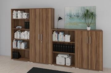 Büromöbel Set - Komplettes Arbeitszimmer in Walnuß Dekor, 8 - teilig -