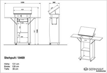 Germania 0469-11 Stehpult auf Laufrollen 0469, in Buche-Nachbildung, 65-126 x 130 x 37 cm (BxHxT) -