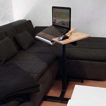 Relaxdays Laptoptisch höhenverstellbar H x B x T: 95 x 60 x 40,5 cm Sofatisch Beistelltisch mit Rollen samt Bremsen für Notebook mit Ablage für Maus hochglanz lackiert mit Antirutsch-Leiste, Eiche (natur) -