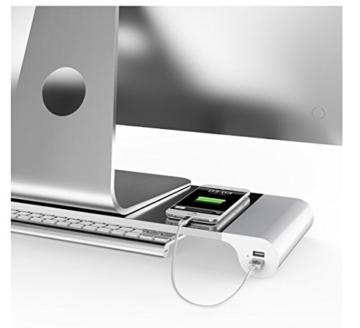 Spacebar, Schreibtischtablett, Schreibtisch Organizer, Monitorständer, Aluminium, Multifunktions-Laptop-Computer Universal Desktop Monitor Stand + Tastatur Speicher für MacBook (4 USB-Ports) -