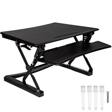 TecTake Sitz- Steh- Schreibtischaufsatz | höhenverstellbar | ergonomisch | Schwarz - diverse Größen - (Typ 2 | Nr. 402300) -