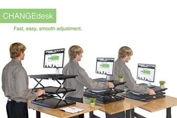 Uncaged Ergonomie changedesk2 – Neues Design – Hoch Ergonomische Laptop & Desktop Stehpult Conversion + höhenverstellbar Tastatur Tablett. Einfach sitzen, sich Computer Riser Tisch (schwarz) -
