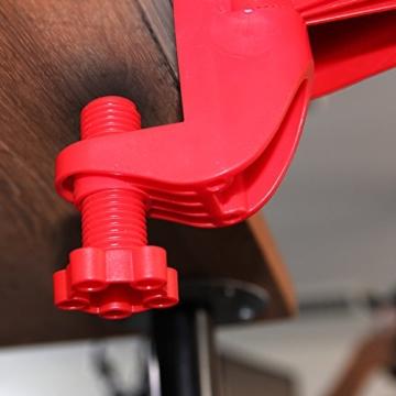 Urcover® Ergonomische Schreib-Tisch Arm-Auflage [ 180 Grad drehbar ] für eine optimale Entlastung von Schulter-, Nacken-, Arm- & Rücken-Muskulatur   Rot   Computer Armlehne flexibel einstellbare Armauflage Komfort Handgelenk-Stütze Gelenk-Stütze Schreibtisch-Aufsatz Befestigung: Schraub-Klemme -