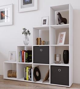 "VCM Regal Treppenregal Raumteiler Stufenregal Bücherregal Standregal Holz Aufbewahrung Sideboard ""Napoli"" Weiß -"