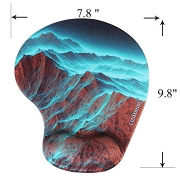 Handgelenkauflage Mouse pad ,Lizimandu rutschfeste Gummi-Unterseite gleichmäßige Maussteuerung ergonomisches Komfort Mauspad mit Handauflage(Rock Mountain/Rock Mountai) - 4