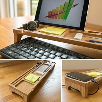 PIETVOSS Schreibtisch Tastatur Organizer aus Bambus Holz, Aufsatz Regal für optimale Organisation. iPhone Halter, Fächer Ablage für Stifte, Büro Zubehör, Gadgets, Maus gegen Unordnung - 2