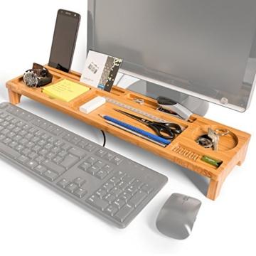 PIETVOSS Schreibtisch Tastatur Organizer aus Bambus Holz, Aufsatz Regal für optimale Organisation. iPhone Halter, Fächer Ablage für Stifte, Büro Zubehör, Gadgets, Maus gegen Unordnung - 1