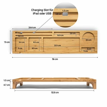 PIETVOSS Schreibtisch Tastatur Organizer aus Bambus Holz, Aufsatz Regal für optimale Organisation. iPhone Halter, Fächer Ablage für Stifte, Büro Zubehör, Gadgets, Maus gegen Unordnung - 6