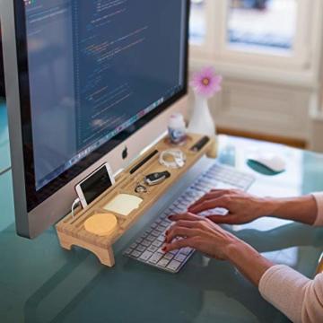 PIETVOSS Schreibtisch Tastatur Organizer aus Bambus Holz, Aufsatz Regal für optimale Organisation. iPhone Halter, Fächer Ablage für Stifte, Büro Zubehör, Gadgets, Maus gegen Unordnung - 8