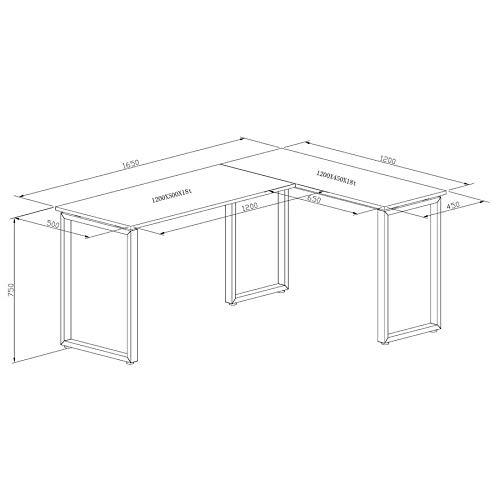 hjh OFFICE 674170 Eckschreibtisch WORKSPACE Basic Grau/Weiß Schreibtisch in Holzoptik mit Stahl-Gestell 165 x 120 cm - 2