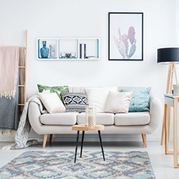 Relaxdays Wandregal mit 3 Fächern, offenes Cube Schweberegal oder Standregal für Deko, CDs, Bücher, 90x30 cm, weiß-blau - 2