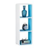 Relaxdays Wandregal mit 3 Fächern, offenes Cube Schweberegal oder Standregal für Deko, CDs, Bücher, 90x30 cm, weiß-blau - 1
