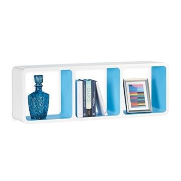 Relaxdays Wandregal mit 3 Fächern, offenes Cube Schweberegal oder Standregal für Deko, CDs, Bücher, 90x30 cm, weiß-blau - 3