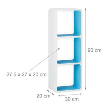 Relaxdays Wandregal mit 3 Fächern, offenes Cube Schweberegal oder Standregal für Deko, CDs, Bücher, 90x30 cm, weiß-blau - 4