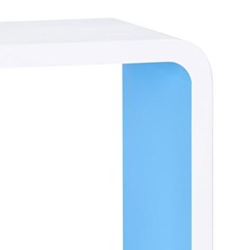Relaxdays Wandregal mit 3 Fächern, offenes Cube Schweberegal oder Standregal für Deko, CDs, Bücher, 90x30 cm, weiß-blau - 5