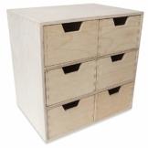Creative Deco Schubladen-Box aus Kiefer-Sperrholz | 6 Schubladen | 28,5 x 20 x 28,5 cm | Minikommode für Kleinigkeiten | Perfektes Ordnungssystem für Lagerung, Decoupage & Dekoration - 1