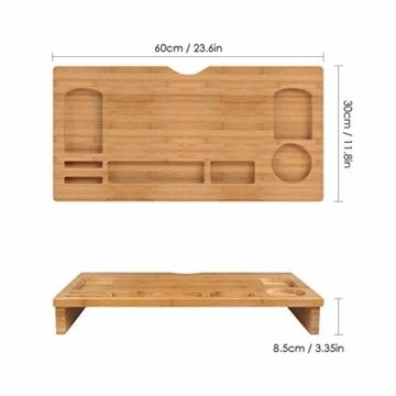 HOMFA Bambus Bildschirmständer mit stauraum Monitorständer Bildschirmerhöhung Schreibtischaufsatz organizer als Schreibtisch Organizer 60x30x8.5cm - 2