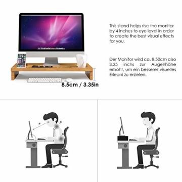 HOMFA Bambus Bildschirmständer mit stauraum Monitorständer Bildschirmerhöhung Schreibtischaufsatz organizer als Schreibtisch Organizer 60x30x8.5cm - 3