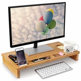 HOMFA Bambus Bildschirmständer mit stauraum Monitorständer Bildschirmerhöhung Schreibtischaufsatz organizer als Schreibtisch Organizer 60x30x8.5cm - 1