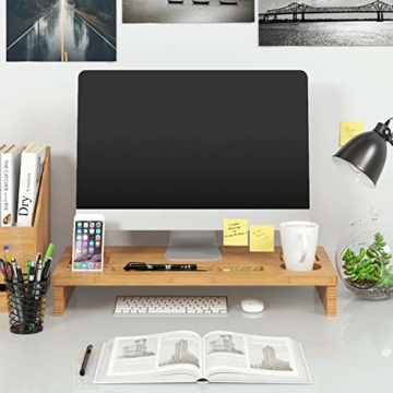HOMFA Bambus Bildschirmständer mit stauraum Monitorständer Bildschirmerhöhung Schreibtischaufsatz organizer als Schreibtisch Organizer 60x30x8.5cm - 4
