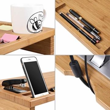 HOMFA Bambus Bildschirmständer mit stauraum Monitorständer Bildschirmerhöhung Schreibtischaufsatz organizer als Schreibtisch Organizer 60x30x8.5cm - 5