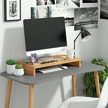 HOMFA Bambus Bildschirmständer mit stauraum Monitorständer Bildschirmerhöhung Schreibtischaufsatz organizer als Schreibtisch Organizer 60x30x8.5cm - 6