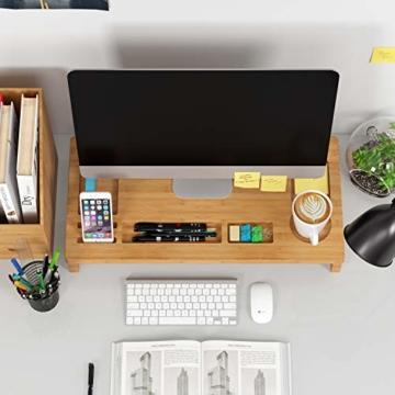 HOMFA Bambus Bildschirmständer mit stauraum Monitorständer Bildschirmerhöhung Schreibtischaufsatz organizer als Schreibtisch Organizer 60x30x8.5cm - 7