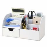 KINGFOM Büro Schreibtisch Organizer Ordnungssystem Tisch Organizer PU Leder Stiftehalter Stiftebox Stifteköcher Multifunktionale Bürobedarf (Weiß-1715) - 1