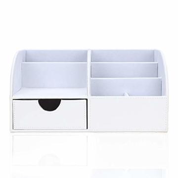 KINGFOM Büro Schreibtisch Organizer Ordnungssystem Tisch Organizer PU Leder Stiftehalter Stiftebox Stifteköcher Multifunktionale Bürobedarf (Weiß-1715) - 3