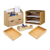 Relaxdays 5 teiliges Schreibtisch Set XXL, aus Bambus, 2 Briefablagen für A4, Schreibtisch-Organizer mit Schubladen, Visitenkartenorganizer, Ablagesystem, Natur - 1