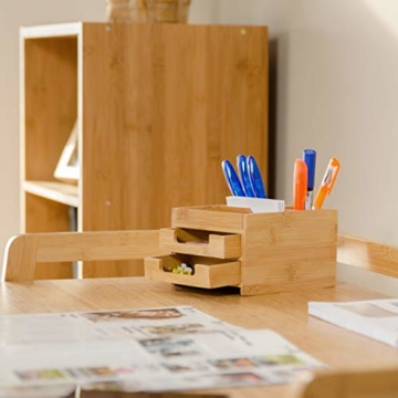 Relaxdays Schreibtisch Organizer Bambus, Stiftehalter Holz, Schreibtischbox Schubladen, HxBxT: 9,5 x 12,5 x 15 cm, natur - 2