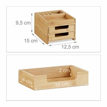 Relaxdays Schreibtisch Organizer Bambus, Stiftehalter Holz, Schreibtischbox Schubladen, HxBxT: 9,5 x 12,5 x 15 cm, natur - 3
