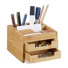 Relaxdays Schreibtisch Organizer Bambus, Stiftehalter Holz, Schreibtischbox Schubladen, HxBxT: 9,5 x 12,5 x 15 cm, natur - 1