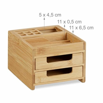 Relaxdays Schreibtisch Organizer Bambus, Stiftehalter Holz, Schreibtischbox Schubladen, HxBxT: 9,5 x 12,5 x 15 cm, natur - 4