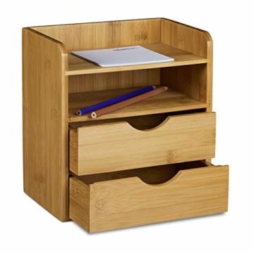 Relaxdays Schreibtisch-Organizer HBT: 21x20x13cm Ablagesystem aus Bambus für den Schreibtisch Organizer mit 2 Ablagen und 2 herausnehmbaren Schubladen Aufbewahrungsbox als Briefablage fürs Büro, natur - 2