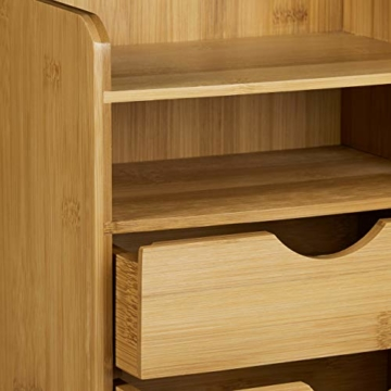 Relaxdays Schreibtisch-Organizer HBT: 21x20x13cm Ablagesystem aus Bambus für den Schreibtisch Organizer mit 2 Ablagen und 2 herausnehmbaren Schubladen Aufbewahrungsbox als Briefablage fürs Büro, natur - 4
