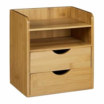 Relaxdays Schreibtisch-Organizer HBT: 21x20x13cm Ablagesystem aus Bambus für den Schreibtisch Organizer mit 2 Ablagen und 2 herausnehmbaren Schubladen Aufbewahrungsbox als Briefablage fürs Büro, natur - 1
